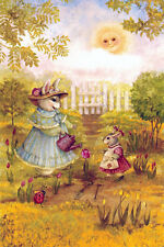 MOM AND DAUGHTER HARES WATER TULIPS LADYBUG IS WATCHING Modern Russian postcard