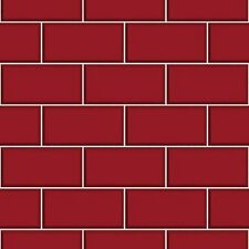 Ceramica FD40138 Red Brick Fine Decor Kitchen Bathroom Subway Tile Wallpaper