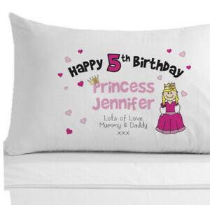 Personalised Princess Pillowcase, Gifts for Girls ages 1-10, Birthday Gift Idea