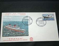 CGT French Line SS FRANCE FDC Postal Cachet Jan 1962
