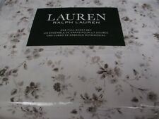 New Ralph Lauren 100% Cotton 4pc White Brown Taupe Floral Sheet Set - Full