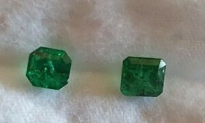 2 x Zambian Facet Cut Natural Emeralds 0.49 and 0.56 carats +- 5mm and 4mm