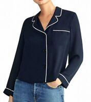 Rachel Rachel Roy Womens Top Blue Size XXL Novar Piping Colla Blouse $89 224