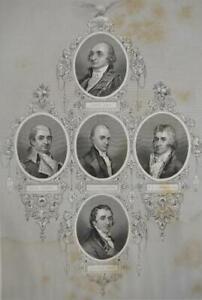 Original 1860's George Washington's Administration Antique Engraving Art