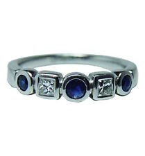 Vintage Platinum Sapphire Princess Diamond Ring Band Hefty Estate Jewelry