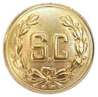 """5/8"""" """"SC"""" WITH WREATH SEW ON TYPE GOLD SANTA BUTTON FOR SANTA SHIRTS"""