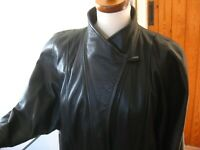 Ladies M&S vintage real leather black JACKET COAT UK 12 14 70s power shoulders