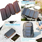 Solar Charger 25000mAh, FEELLE Portable Power Bank with 4 Orange