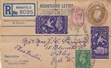 GB :1945 Postal Stationery Registered Envelope H&G RP59 Size F used to Australia