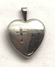 Sterling Silver Petite Heart Picture Locket Religious Cross Etch Love Pendant