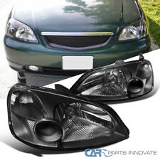 Fit 2001-2003 Honda Civic EM ES 2Dr/4Dr Coupe Sedan JDM Black Headlights Lamps