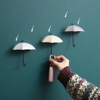 3Pcs Umbrella Wall Hook Key Holder Rack Wall Mount Hat Coat Hanger Organizer Set