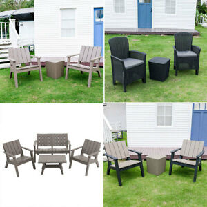 Outdoor Conservatory Set Garden Bistro Plastic Patio Coffee Table & Chairs Seat
