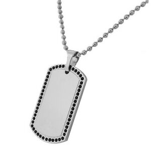 Stainless Steel Dog Tag Black Crystals Necklace Pendant with Chain
