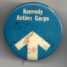 Bobby Kennedy 1969 Pin ~ KENNEDY ACTION CORPS with Arrow Pinback *AS IS*