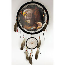 """13"""" Soaring Eagle Dream Catcher Wall Hang Decor Feathers & Beads Gift DCB1321"""