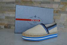 Prada Tg. 38,5 Mocassino Pantofola Scarpe Basse Scarpe Crema Blu Nuovo