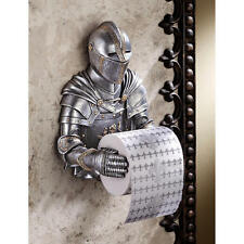 Medieval Knight Guardian Sculptural Bathroom Toilet Tissue Holder