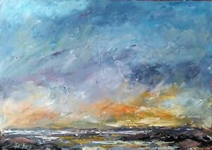 "Original Seascape.  Coastal. Impressionist Painting Acrylic on Canvas 8""X 12""."
