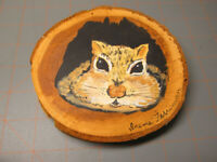 Squirrel chipmunk On Wood Round art painting small placque cabin rustic decor WJ