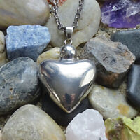 Vintage Taxco Mexico TS-14 Lg 925 Sterling Silver Heart Pendant Necklace Signed