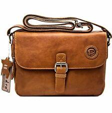 Luxus Damen natural Leder Tasche Büffelleder Umhängetasche Schultertasche Braun