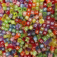 100 x 6mm Colour Transparent Random Alphabet Beads A-Z Mixed Letters Pony Beads