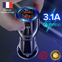 Chargeur Rapide Voiture 3.1A LED 2 ports USB QC 3.0 APPLE SAMSUNG HUAWEI