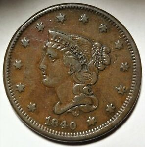 1840 N-2 Small/Large 18 Braided Hair Large Cent Very Fine Early Copper 1c Coin