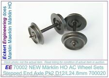EE 70002 NEW Marklin HO AC Wheel Sets 700020 Stepped End Axle Pk2 D12/L24.8mm