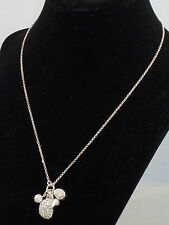 Ralph Lauren Polished Silvertone Mixed Nugget Pave' Faux Pearl Cluster Necklace