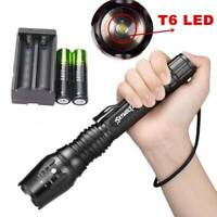 90000LM T6 LED Flashlight Rechargeable Zoomable Torch Lamp + Battery + Charger k