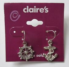 7CD Cruise anchor helm sailing sparkle sensitive ears EARRINGS claire's jewelry