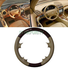 Leather Wood Steering Wheel Cover Cap Mercedes 03-09 W209 CLK R230 SL W219 CLS