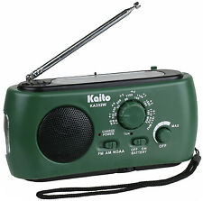 Kaito KA332W Weather Radio with AM/FM Flashlight Solar and Crank Power Green