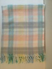 Vtg Beacon Pastel Plaid Acrylic Baby Blanket Tassle Fringe WPL 1675  Blue White