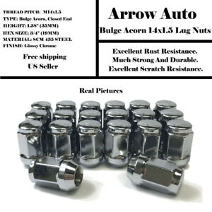 24PC FORD 14X1.5 WHEEL LUG NUTS BULGE ACORN CHROME CONICAL SEAT FOR FORD MODELS