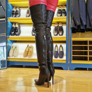 Womens Zip Pumps Sexy Stiletto Heels Pointy Toe Over Knee High Thigh Boots Party