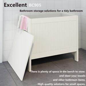 White Wooden Laundry Box Bin Bathroom Storage Basket Linen Chest