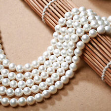 "Genuine 8mm Natural White South Sea Shell Pearl Loose Beads 15"" AAA+"