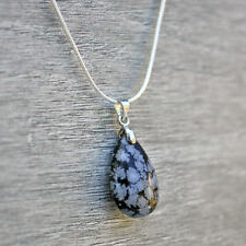 Snowflake Obsidian Teardrop Pendant With Silver Plated Chain Necklace UK