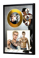 Justin Bieber Gold Vinyl Look CD, Autograph & Plectrum Display