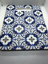 Moroccan Style Blue & White Cutting Board Trivet Hot Plate Kitchen Decor GLOBAL!