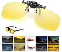 Night Vision Anti Glare Polarized Clip On Flip Up Driving Glasses UV400 Lens