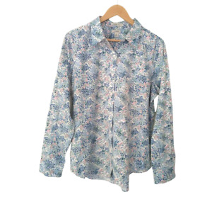 LL Bean Wrinkle Free Women's Long Sleeve Shirt Pink Blue Floral Cotton Large