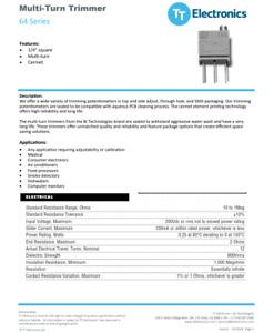 64WR1MEG 1 MEG OHM Trimpot Trimmer Potentiometer BI Bourns TT Electronics