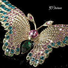 18K ROSE GOLD GP VIVID CRYSTAL BUTTERFLY BROOCH COLORFUL
