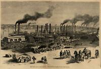 The Levee St. Louis Missouri dock steam boats lined up 1871 Harper's view print