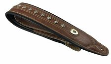 "Genuine Leather Soft Padded Light Brown ""IRON CROSS"" SCRIPT Supreme Guitar Strap"