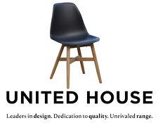 New Modern Black Plastic Outdoor Teak Timber Dining Chair Garden Retro Furniture